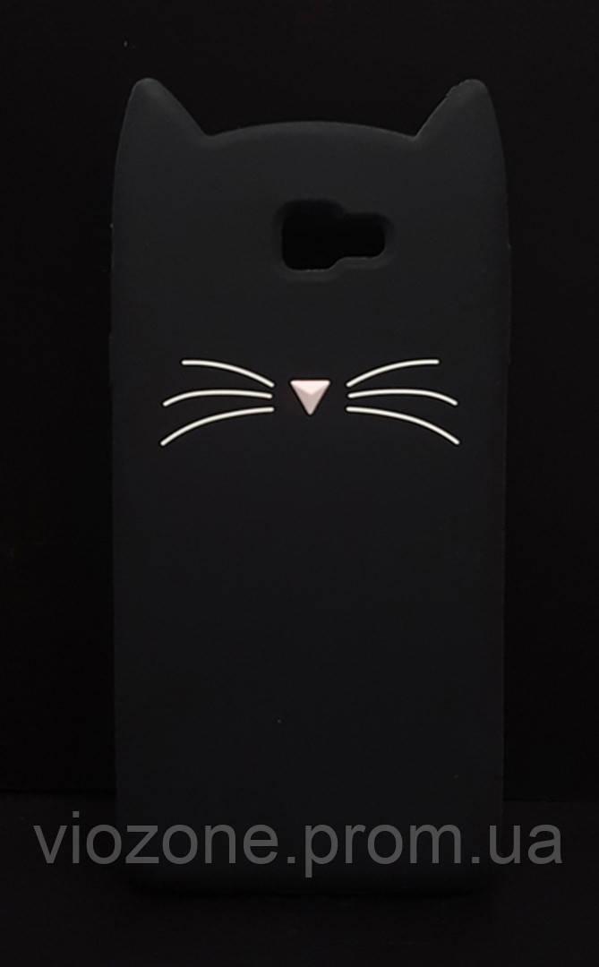 3d Чехол Бампер для Samsung Galaxy J5 Prime / G570  резиновый Чёрный Кот