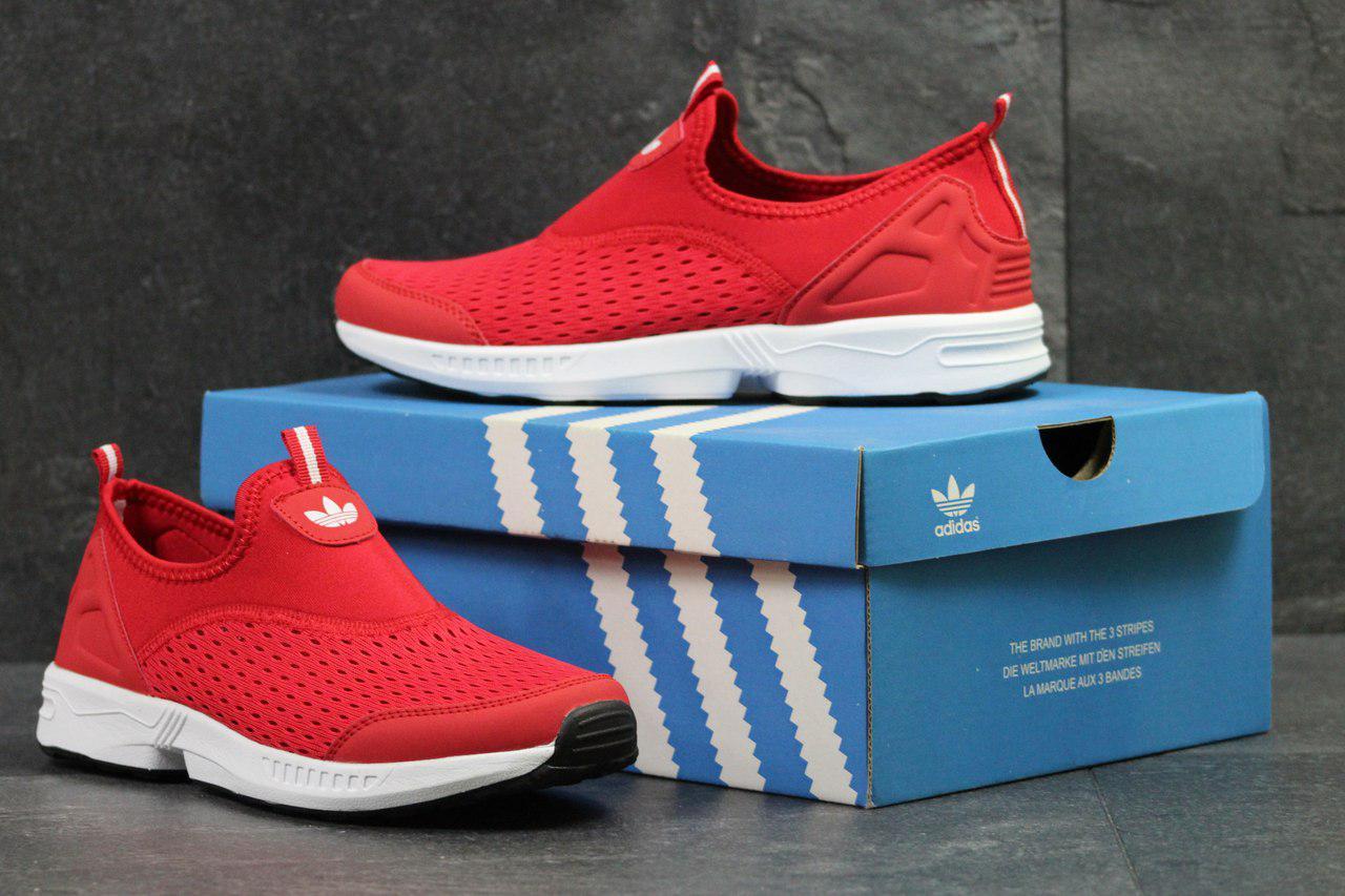 Мужские кроссовки Adidas красные адидас без шнурков макасины - Сетка,  подошва  пена размеры  b3b83767a13