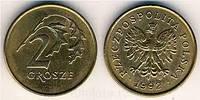Польша 2 гроша 2015г.