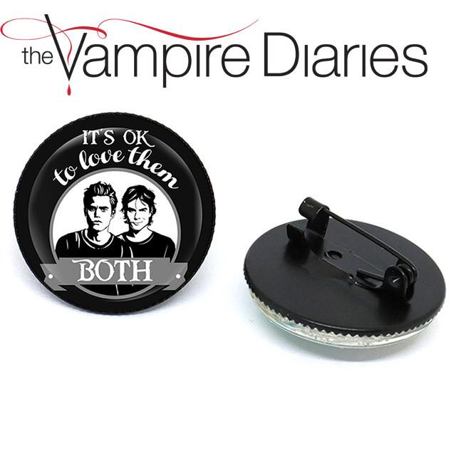 Значок брошь Дневники Вампира Vampire Diaries Это нормально любить их обоих