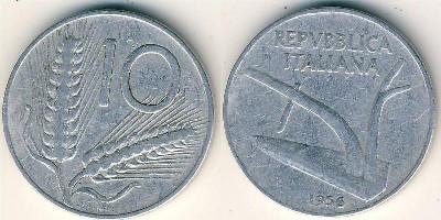 Италия 10 лир 1967г.