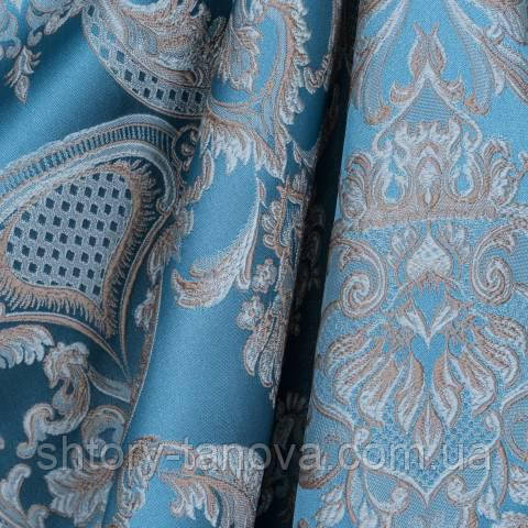 Декоративная ткань для штор с принтом голубо-синий