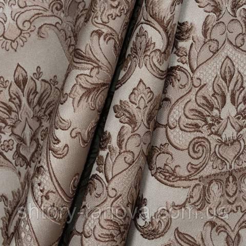 Декоративная ткань для штор с принтом бежево-корчиневый