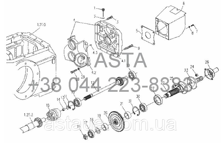Коробка отбора мощности в сборе 720r/min на YTO X854
