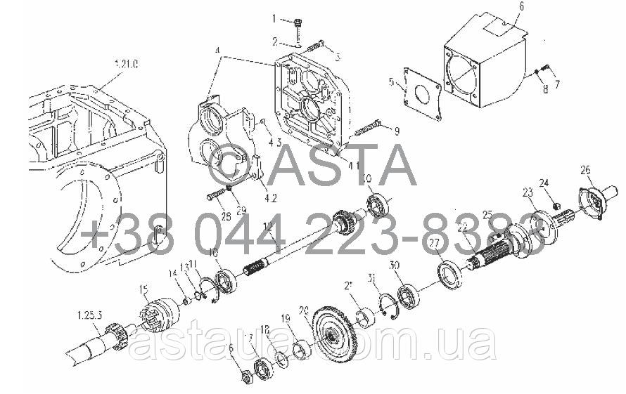 Коробка відбору потужності в зборі (додатково) 540r/min або 1000r/min на YTO X854