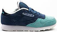 Женские кроссовки Reebok Classic Blue (Рибок Классик, синие / голубые)