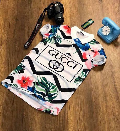 dd676d1758a0 Купить Мужские футболки поло Gucci Гучи белые с цветочным принтом (реплика)  по низкой цене в Украине от интернет-магазина