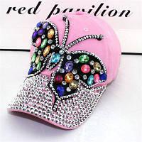 Женская джинсовая кепка Бабочка с разноцветными камнями розовая, фото 1
