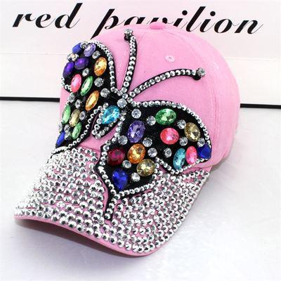 Женская джинсовая кепка Бабочка с разноцветными камнями розовая