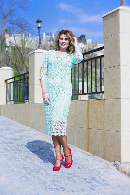 Нарядное платье-миди макраме (К23220)