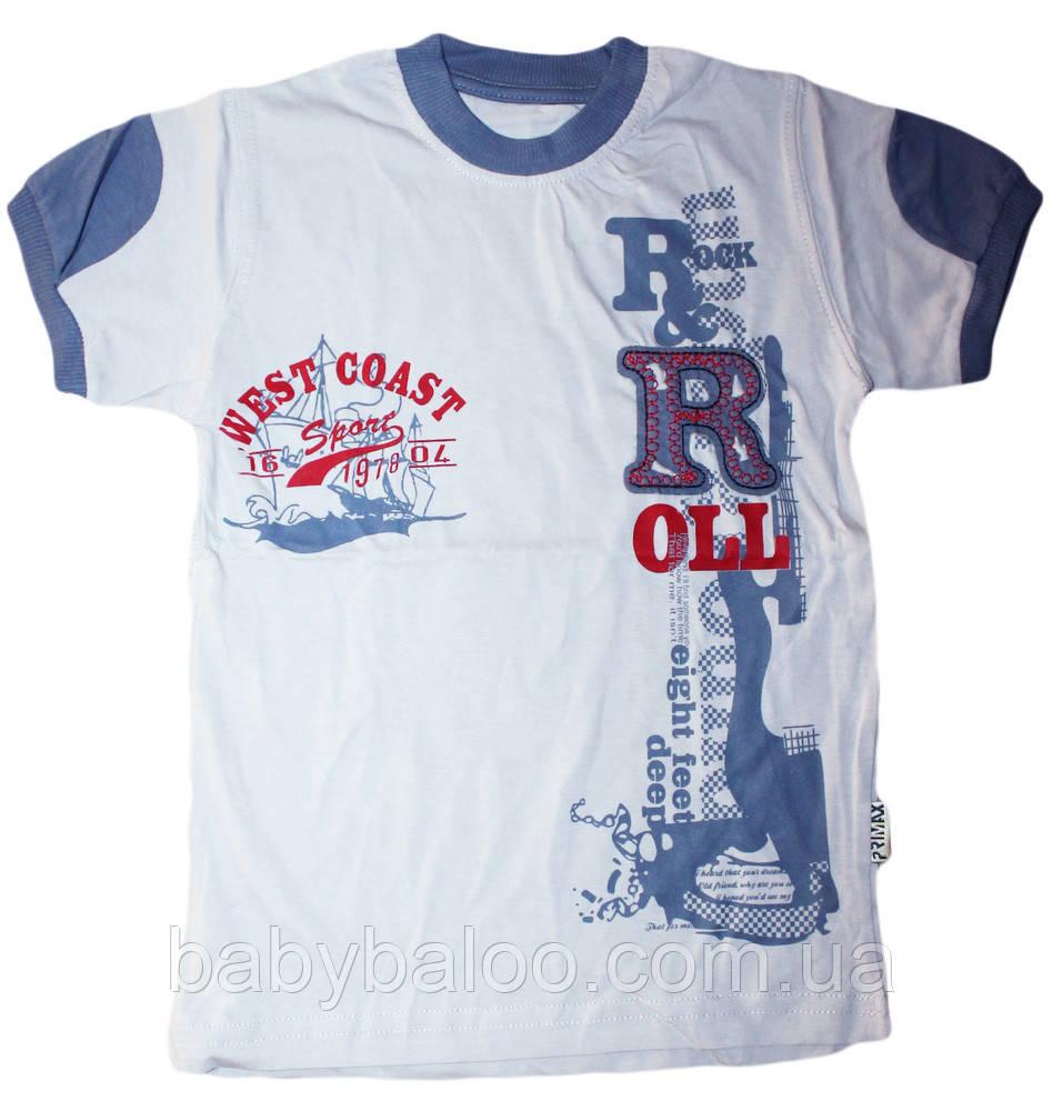Трикотажная детская футболка с вышивкой (рост от 104 до 128 см)