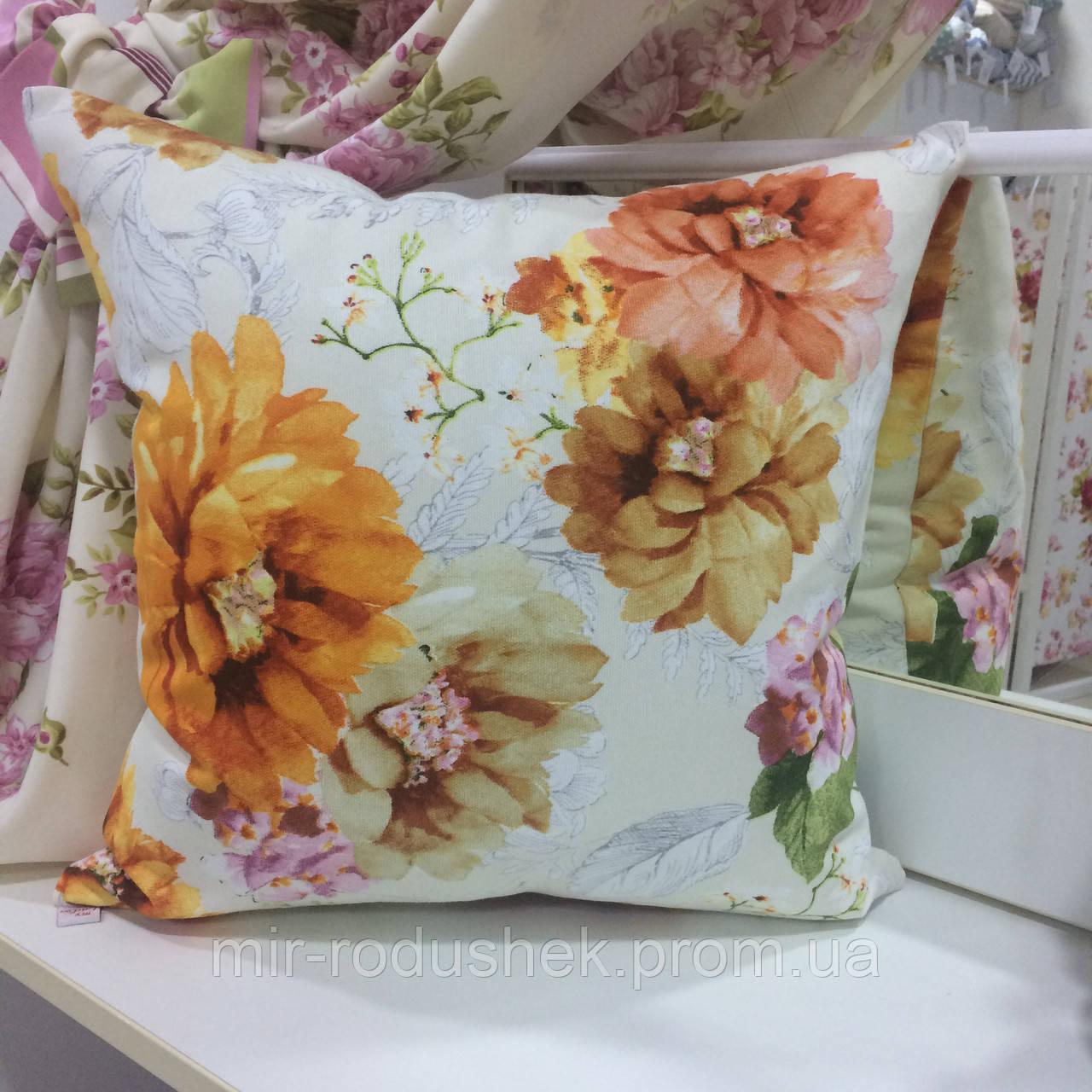 """Декоративная подушка """"Адель"""" цветы оранж большие принт 45х45: съемная наволочка, наполнитель холлофайбер"""