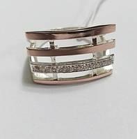 Кольцо Лидер 4  серебро с золотом и белыми цирконами