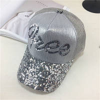 Женская кепка с пайетками Free серебристая, фото 1