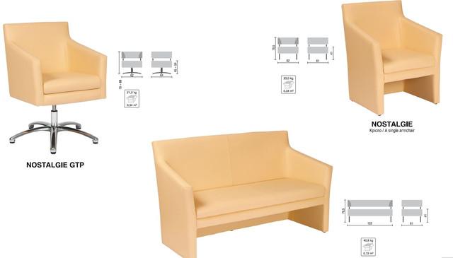 Диван офисный Ностальжи (Nostalgie Duo) бежевый в ассортименте с креслами.
