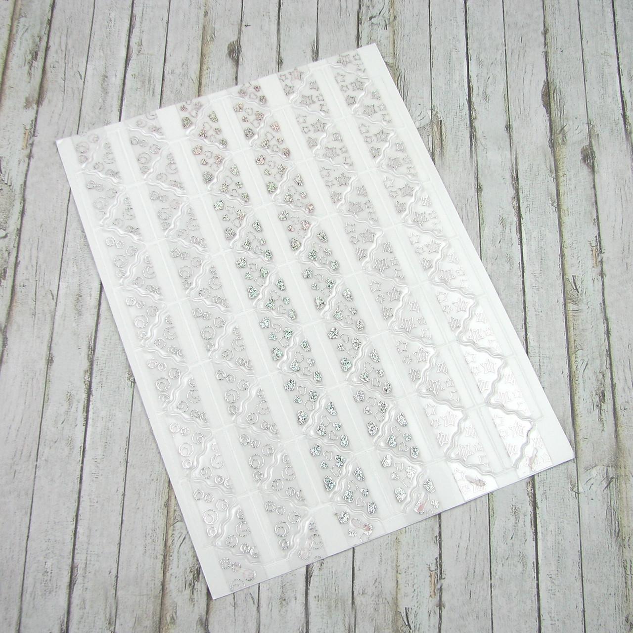 Уголки для фотографий, серебро самоклеющиеся на листе 78 уголков