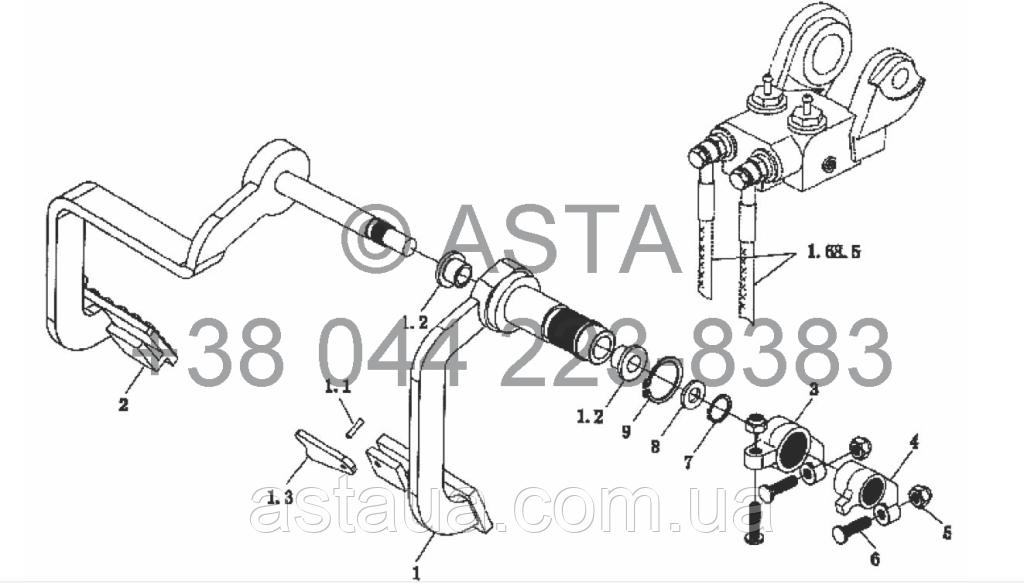 Стояночный тормоз - механизм контроля на YTO X854