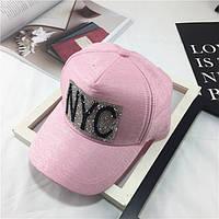 Женская кепка со стразами NYC розовая, фото 1