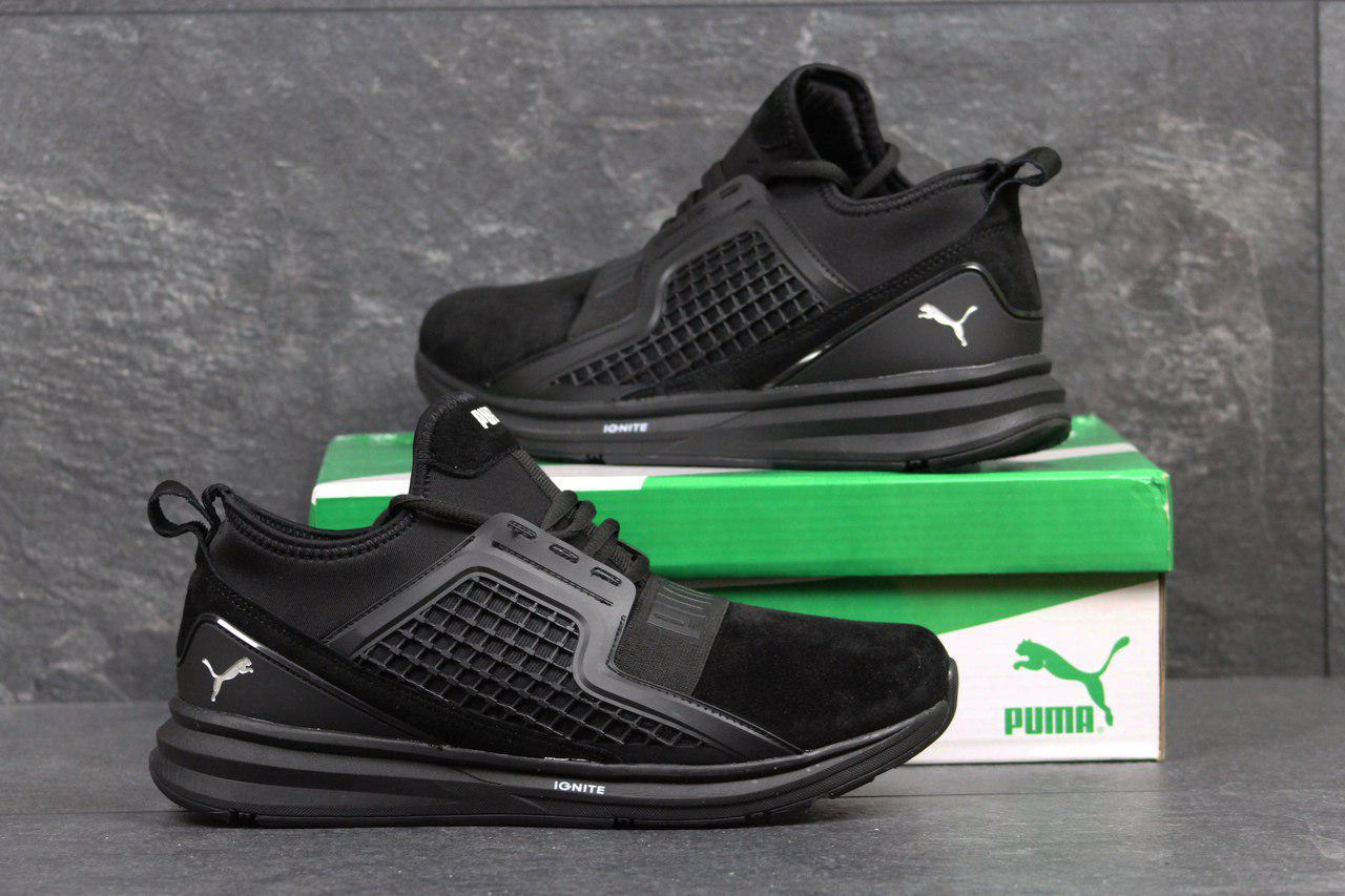 Мужские кроссовки Puma Ignite Limitless,замшевые,черные 44р