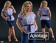 Костюм(блузка и шорты), с поясом, лен(тонкий) принт, штапель (шорты), 3 цвета, размеры 42,44,46; код 7032В