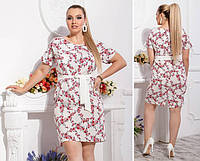 Платье с поясом-Батал , модель 110, принт мелкие красные цветочки на белом фоне, фото 1