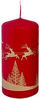 Свеча новогодняя красная 50х100мм цилиндр  декоративная 1шт