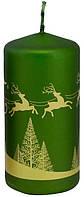 Свеча новогодняя олени 50х100мм зеленая