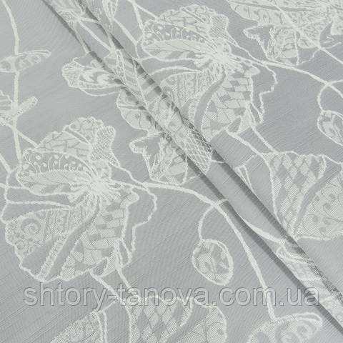 Жаккардовая ткань для штор, маки серый