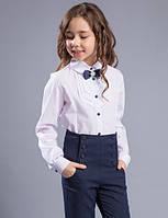Блуза школьная c бантом - брошкой «Iren» Размеры 122 - 146