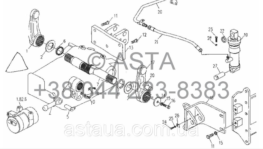 Вал и приводной механизм(с цилиндром) на YTO X854