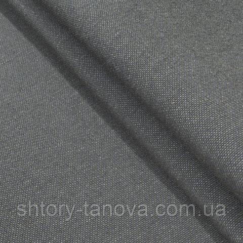 Декоративная ткань, лён, однотонная мокрый асфальт