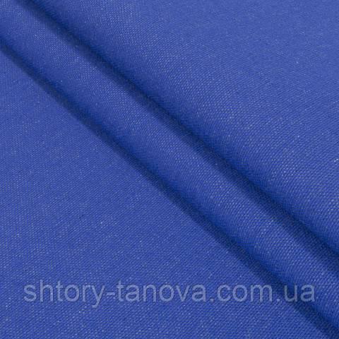 Декоративная ткань, лён, однотонная василёк
