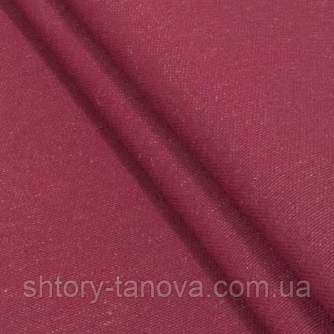 Декоративная ткань, лён, однотонная красный