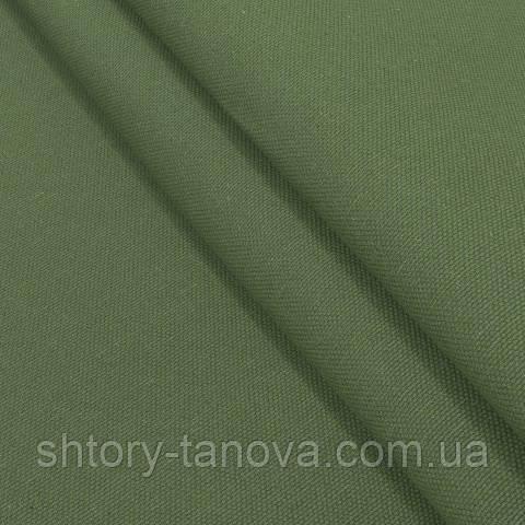 Декоративная ткань, лён, однотонная тёмно-зелёный