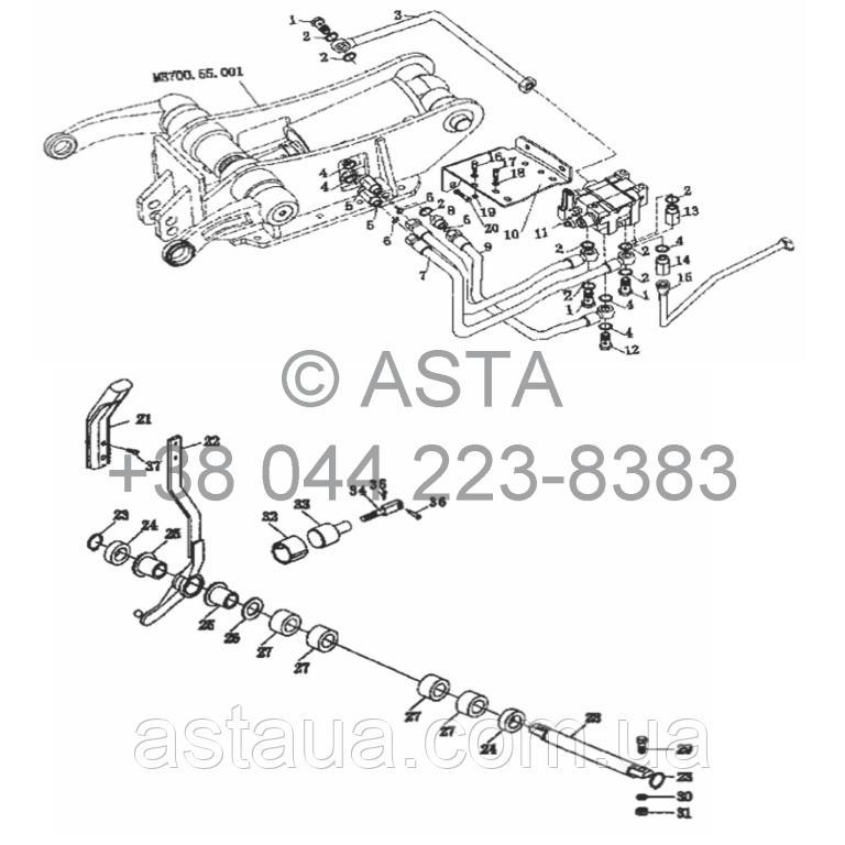 Ходовой клапан контроля трубопроводов на YTO X854