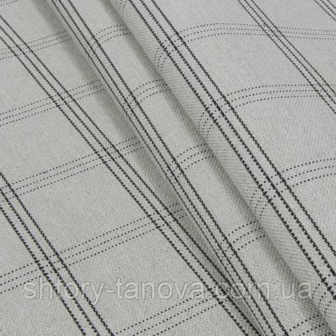 Декоративная ткань, лён, клетка серо-чёрный