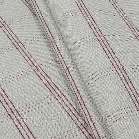 Декоративная ткань, лён, клетка серо-красный
