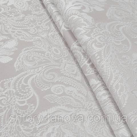 Декоративная ткань, вискоза, с принтом бело-розовый