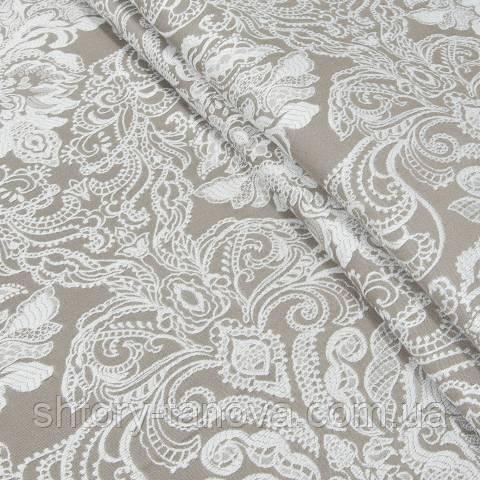 Декоративна тканина, віскоза, з принтом темний беж