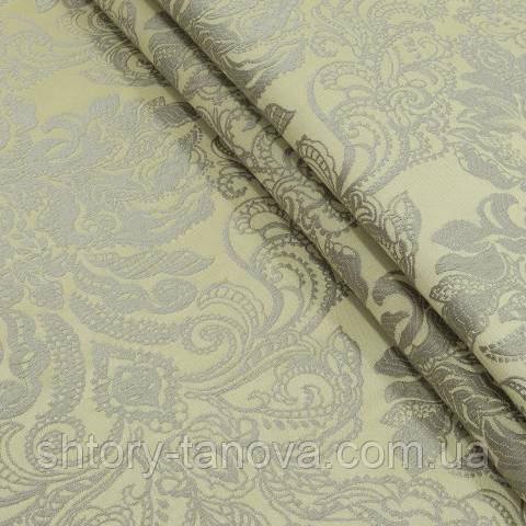 Декоративная ткань, вискоза, с принтом оливково-золотой