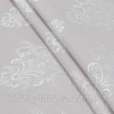Декоративная ткань, вискоза, вензель бело-розовый