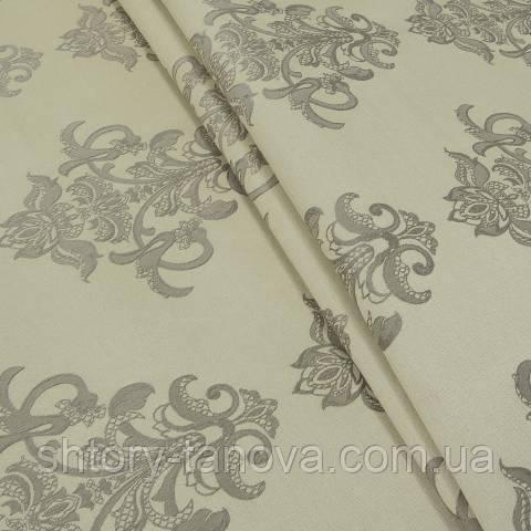 Декоративная ткань, вискоза, вензель оливково-золотой