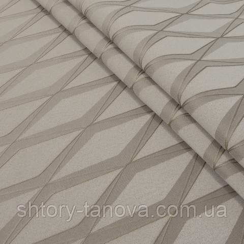Декоративная ткань, геометрический принт коричневый