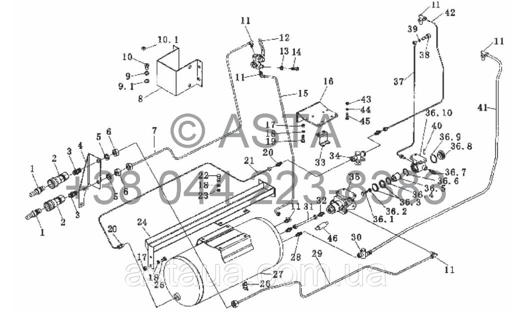 Тормозная система прицепа (опция) на YTO X854