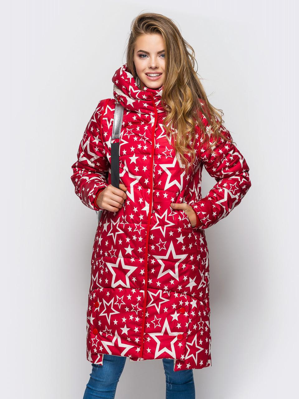 Модная длинная зимняя женская куртка-1 со звездами на силиконе