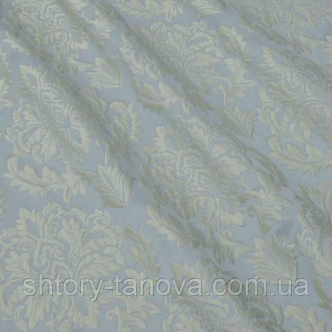 Декоративная ткань, вензель светлая бирюза