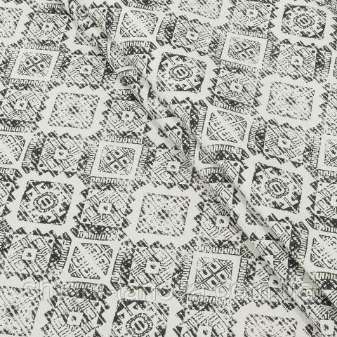 Декоративная ткань для штор, ромбы, серо-белый