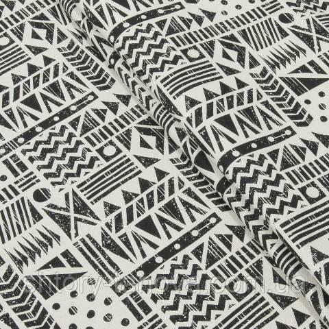Декоративная ткань для штор, геометрия, чёрно-белый