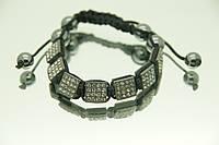 Плетенный браслет под шамбалу с камнями квадратной формы. 730