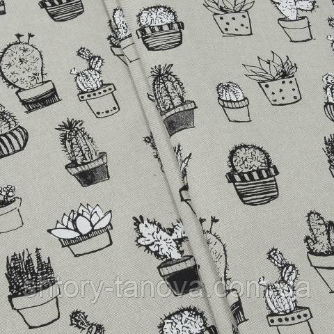 Декоративная ткань для штор, кактусы серый
